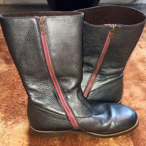 Girls Mini Boden Dark Silver Boots Size 37